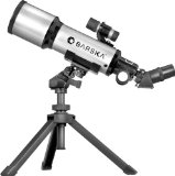 BARSKA 40070 Starwatcher Compact Refractor Telescope with Table Top Tripod And Carrying Case