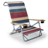 Telescope Casual Original Mini-Sun Chaise Folding Beach Arm Chair with Cup Holders, Spencer